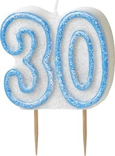 Blue Glitz Theme Number Candle – Number 30