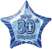 Birthday Blue Glitz 30th Birthday Star Shape Foil Balloon