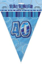 Birthday Blue Glitz 40th Bunting – 12 Ft / 3.65m