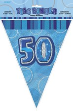Birthday Blue Glitz 50th Bunting – 12 Ft / 3.65m