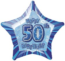 Birthday Blue Glitz 50th Birthday Star Shape Foil Balloon