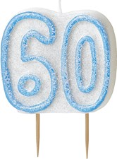Blue Glitz Theme Number Candle – Number 60