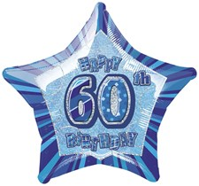 Birthday Blue Glitz 60th Birthday Star Shape Foil Balloon