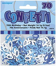 Blue Glitz 70th Birthday Table Confetti