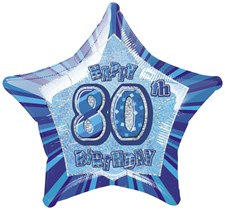 Birthday Blue Glitz 80th Birthday Star Shape Foil Balloon