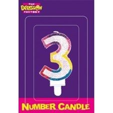 Multicoloured Age 3 Number Candle