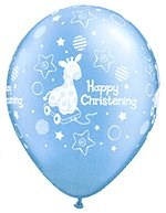 Christening Blue Giraffe Design Latex Balloons – Pack of 10