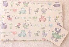 Gift Wrap Christening Teddy Bears & Prams Wrapping Paper - 2 Sheets & 1 Tag