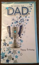Birthday Dad 3-D Large Card - Stars and Trophy Design