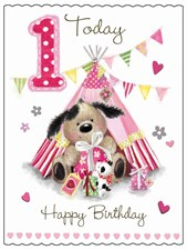 Fudge & Friends 1 Today! Birthday Card - Puppy & Pink Tent