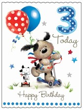 Fudge & Friends 3 Today Happy Birthday Card - Puppy & Scooter