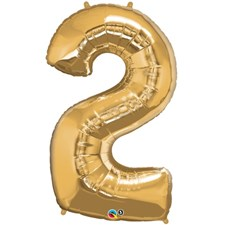 """Qualatex Gold '2' Giant 34"""" Number Foil Balloon"""