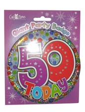 Party Badge 50 Birthday '50 Today' Large Badge - Circles