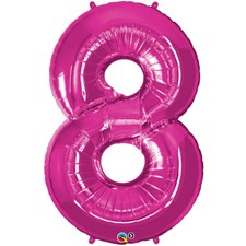 """Qualatex Pink '8' Giant 34"""" Number Foil Balloon"""