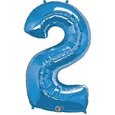 """Qualatex Blue '2' Giant 34"""" Number Foil Balloon"""