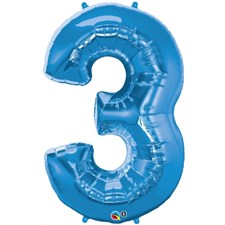 """Qualatex Blue '3' Giant 34"""" Number Foil Balloon"""