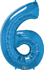 "Qualatex Blue '6' Giant 34"" Number Foil Balloon"