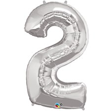 """Qualatex Silver '2' Giant 34"""" Number Foil Balloon"""