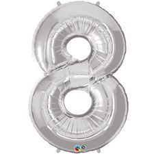 """Qualatex Silver '8' Giant 34"""" Number Foil Balloon"""