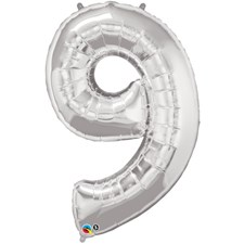 """Qualatex Silver '9' Giant 34"""" Number Foil Balloon"""
