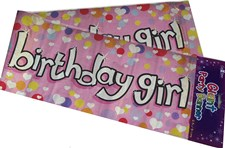 Party All Ages Birthday Girl Banner - Pink Holographic