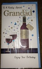Birthday Grandad 3-D Large Card - Wine Bottle and Glasses