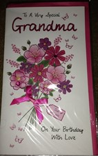 Birthday Grandma 3-D Large Card - Flowers Design