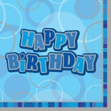 Blue All Ages Glitz Happy Birthday Napkins - Pack of 16