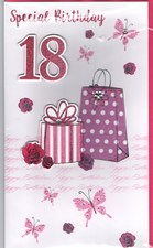 Birthday Age 18th 3-D Large Female Card -  Handbag & Present