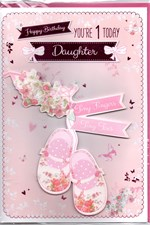 Birthday 1st Daughter Card - Baby Bear & Blocks