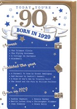Birthday Age 90th 2019 Year Card - 1929 Was a Special Year BLUE