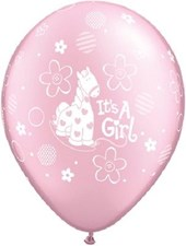 Christening Pink Pony Design Latex Balloons – Pack of 5