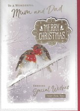 Christmas Mum & Dad Card - Wintry Scene & Robins