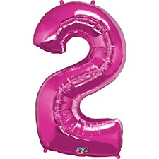 """Qualatex Magenta '2' Giant 34"""" Number Foil Balloon"""