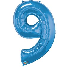 """Qualatex Blue '9' Giant 34"""" Number Foil Balloon"""
