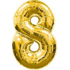 """Qualatex Gold '8' Giant 34"""" Number Foil Balloon"""