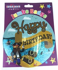 Blue Holographic Happy Birthday Large Badge - Pirate & Treasure