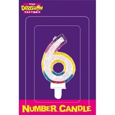 Multicoloured Age 6 Number Candle