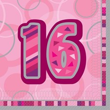 Pink Glitz 16th Birthday Napkins - Pack of 16