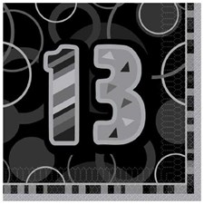 Black Glitz Age 13  Napkins - Pack of 16
