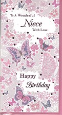 Birthday Niece Card - Butterflies and Flowers
