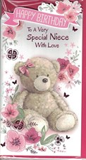 Birthday Niece Card - Cute Bear & Background Of Flowers