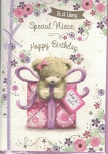 Birthday Niece Card - Cute Bear Gardening
