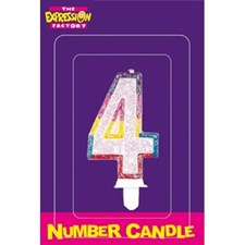 Multicoloured Age 4 Number Candle