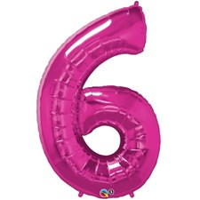 "Qualatex Pink '6' Giant 34"" Number Foil Balloon"