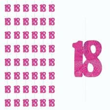 Pink Glitz 18th Birthday Hanging Decoration - Pack of 6 Strings