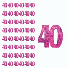Pink Glitz 40th Birthday Hanging Decoration - Pack of 6 Strings