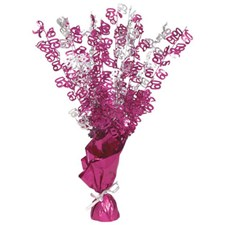Pink Glitz 60th Balloon Weight Centrepiece