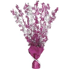 Pink Glitz 90th Balloon Weight Centrepiece