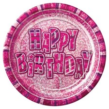 Pink Glitz Happy Birthday Paper Plates - Pack of 8